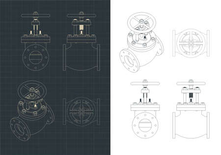 Stylized vector illustration of drawings of the stop valve