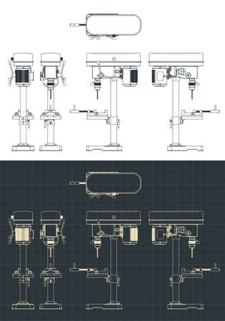 Stylized vector illustrations of industrial drill press drawings