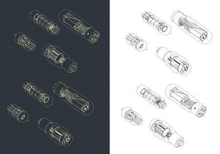 Stylized vector illustration of vacuum tube set isometric drawings