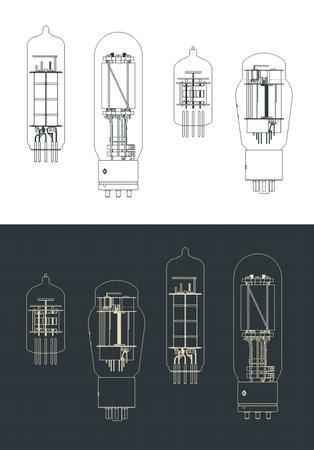 Stylized vector illustration of vacuum tube set drawings