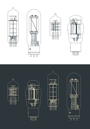 Stylized vector illustration of vacuum tube set drawings