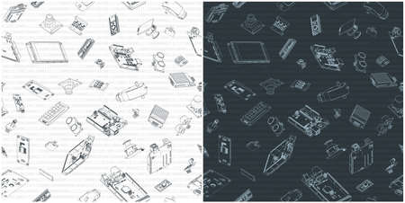 Stylized vector illustration of Arduino hardware drawings. Illustrations seamless in all direction if needed Ilustração