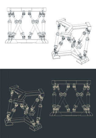 Stylized vector illustration of hexapod mechanism drawings