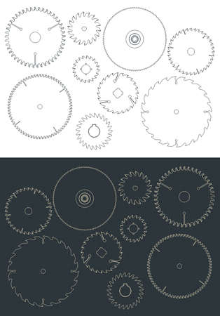 Stylized vector illustration of circular blade saw drawings set