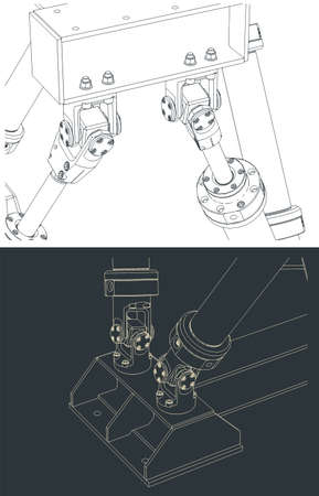 Stylized vector illustration of hexapod mechanism drawings close-up