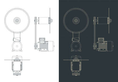 Stylized vector illustration of Circular saw drawings