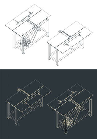 Stylized vector illustration of table cutting machine isometric drawings