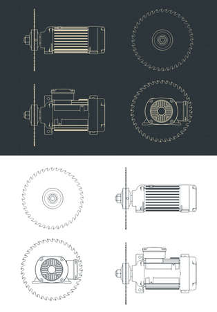 Stylized vector illustration of saw blade and motor drawings