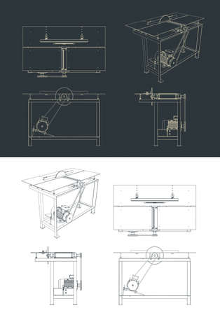 Stylized vector illustration of table cutting machine drawings