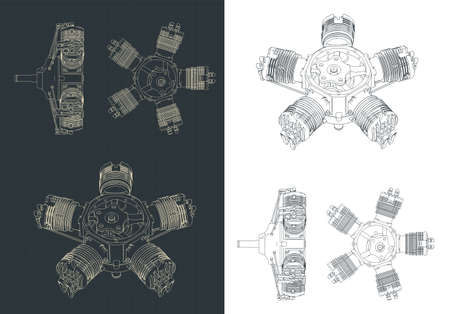 Stylized vector illustration of radial engine drawings