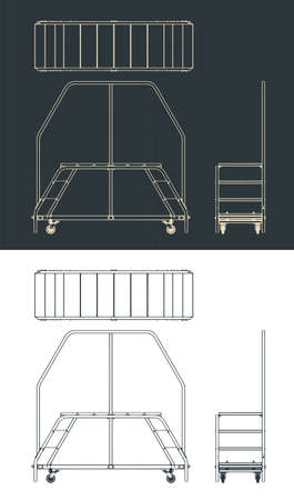 Stylized vector illustration of a dual entry service ladder platform drawings