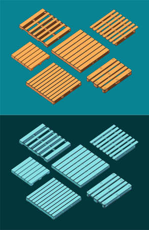 Stylized vector illustration of isometric drawings of pallets