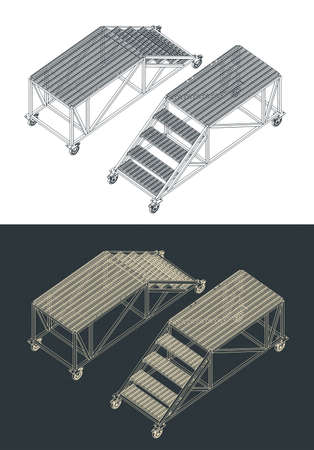 Stylized vector illustration of a platform for service drawings