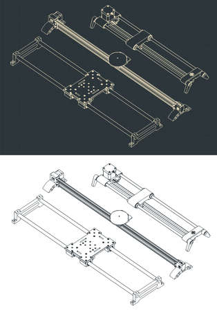 Stylized vector illustration of isometric drawings of camera sliders Vector Illustration