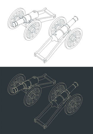 Stylized vector illustration of a vintage artillery cannon isometric drawings Ilustração