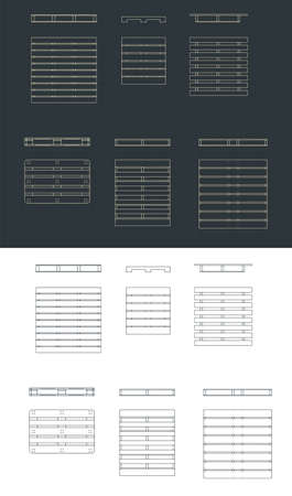 Stylized vector illustration of drawings of pallets