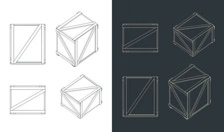 Two stylized vector illustrations of shipping crates blueprints