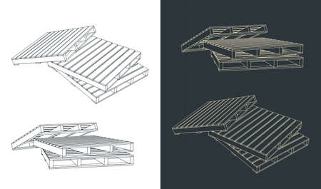 Drawing stylized vector illustration of pallet composition
