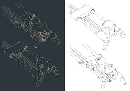 Stylized vector illustration of camera slider close-up drawings