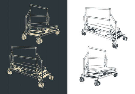 Stylized vector illustration of a mobile dual entry service ladder platform isometric drawings