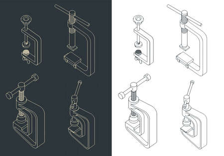 Stylized vector illustration of a c-clamp isometric drawings mini set