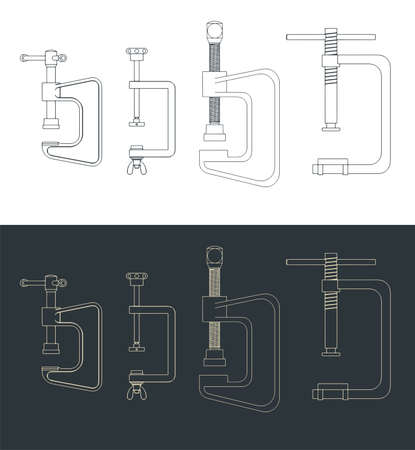Stylized vector illustration of a c-clamp drawings mini set Ilustração