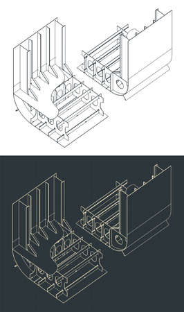 Stylized vector illustration of a cargo ship section drawings