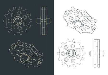 Stylized vector illustration of a toothed gear for chain drive drawing