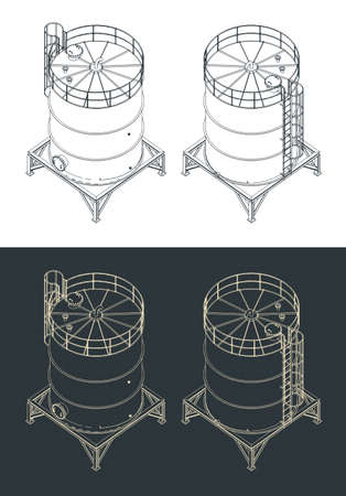 Stylized vector illustration of a storage tank isometric drawings