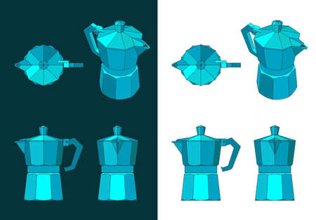 Stylized vector illustration of a coffee maker color drawings