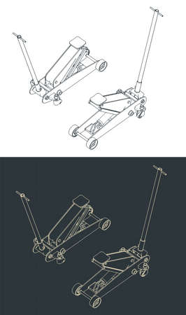 Stylized vector illustration of a hydraulic car jack isometric drawings