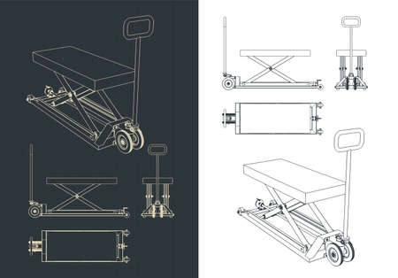 Stylized vector illustration of a pallet jack with a hydraulic up and down mechanism