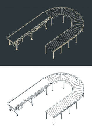 Stylized vector illustrations of roller and belt conveyors isometric blueprints