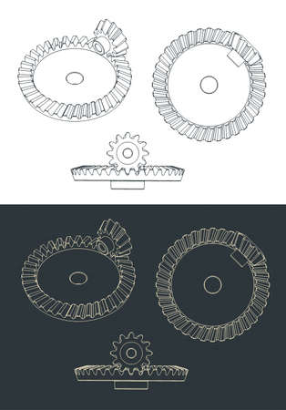 Stylized vector illustrations of helical bevel gear pair blueprints