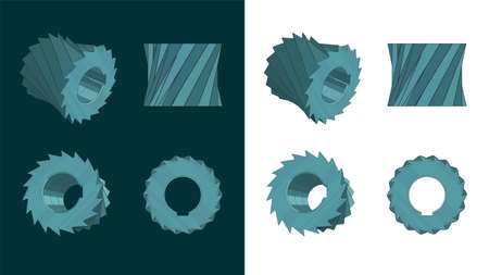 Stylized vector illustration of cylindrical milling cutter color blueprints