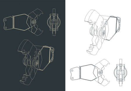 Stylized vector illustration of Demolition shear blueprints