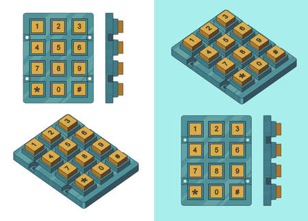 Stylized vector illustration of Ñ'umeric keyboard module color drawings