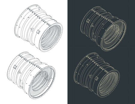 Stylized vector illustration of isometric blueprints of compressor stator case from turbo jet