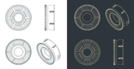 Stylized vector illustration of blueprints of jet engine intake casing