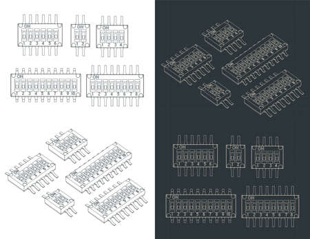 Stylized vector illustration of blueprints of SPDT Multi-pole slide switches Vetores