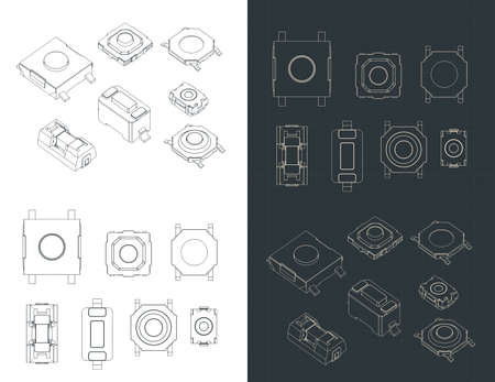 Stylized vector illustration of blueprints of SMD momentary tactile switches and buttons