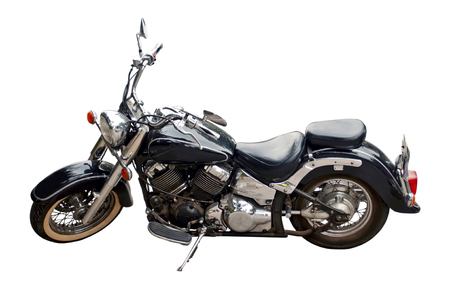 photo the motorcycle of black color on a white background photo