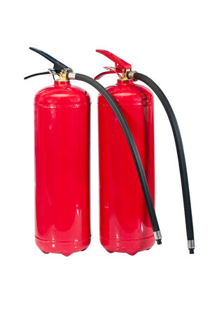 inflammable: photo of fire extinguishers red color on a white background