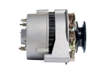electromechanical: photo the automobile generator on a white background Stock Photo