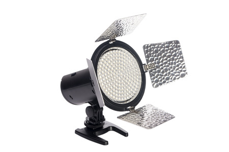 vcr: LED lamp for video filming on a white background Stock Photo