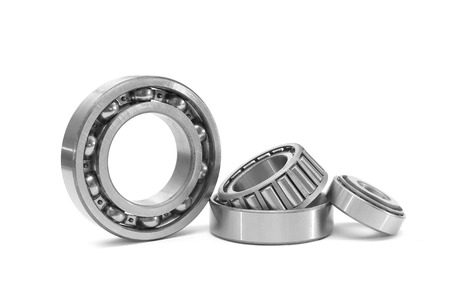 rotating parts: Group of bearings isolated on white background