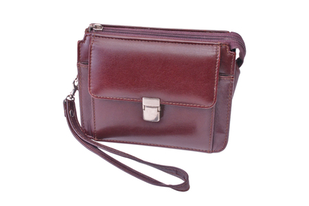 claret: small mans handbag of claret color on a white background