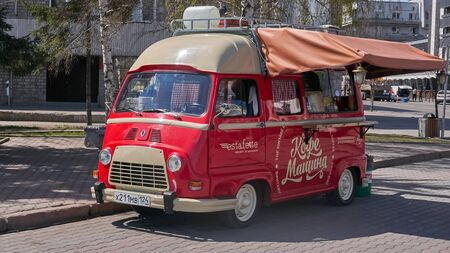 Krasnoyarsk, Russia - MAY 12, 2018: Motor car Renault Estafette R2136A Microcar de Luxe, The vehicle is equipped for cooking and coffee sales. Editorial Use Only
