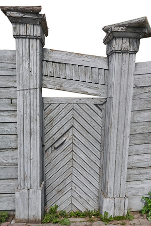 very old gate wooden, on a white background curve columns of gray color