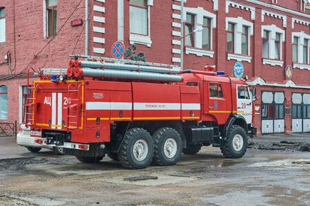Krasnoyarsk, Russia - July 28, 2018: KAMAZ-43118 fire truck preparation to patrol of an action.